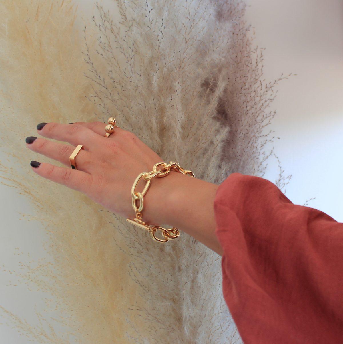 טבעת כדורים, טבעת מרובעת לזרת וצמיד חוליות גדול