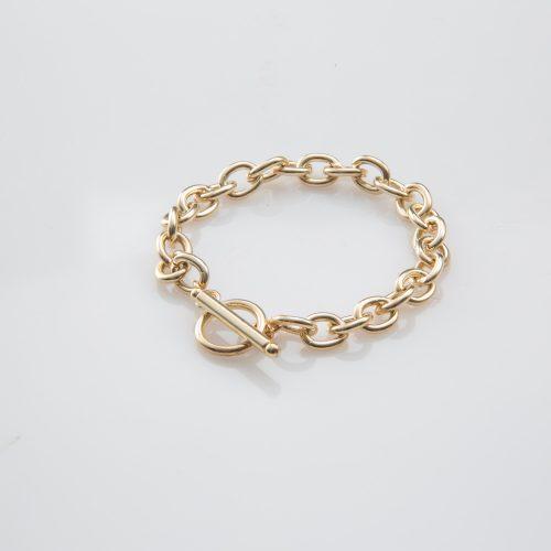 תמונת מוצר, צמיד חוליות בינוני בצבע זהב.