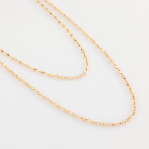 תמונת מוצר, שרשרת כפולה, קצרה ודקה, בצבע זהב