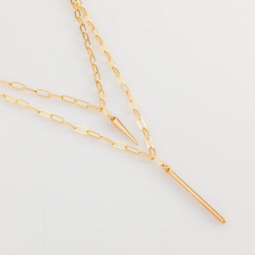 תמונת מוצר, שרשרת חוליות כפולה, בצבע זהב, עם תליון קונוס ותליון מקל.