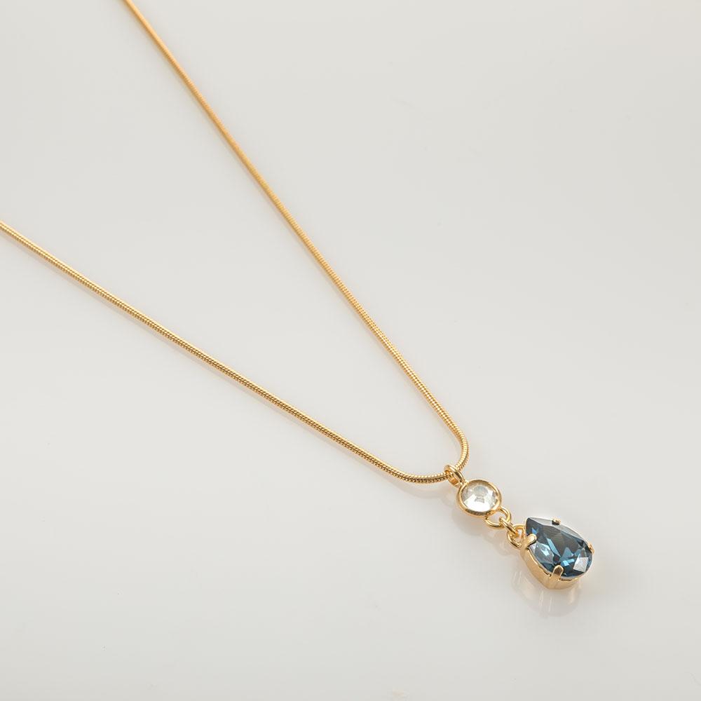 שרשרת עם אבנים כחול ושקוף