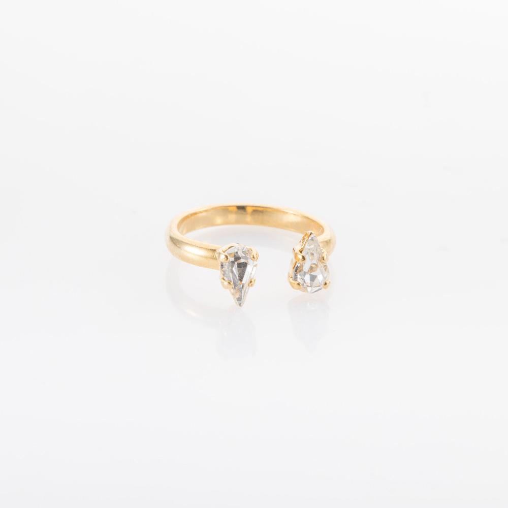 טבעת זהב או כסף קטנה פתוחה עם אבני סברובסקי טיפה שקופות
