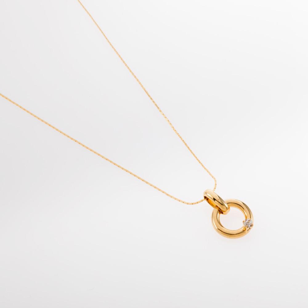 שרשרת זהב דקה עם תליון עגול